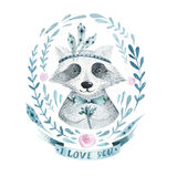 Watercolor boho floral wreath with raccoon. Watercolour bohemian Stock Photo