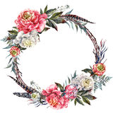 Watercolor Boho Peony Wreath. Watercolor Floral Wreath Made of Peonies, Leather Leaves, Pheasant Feathers and Twigs, Isolated on White Background. Vintage Style Royalty Free Stock Image