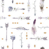 Watercolor boho seamless pattern with teepee, arrows and feather Stock Images