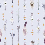 Watercolor boho seamless pattern with teepee, arrows and feather Royalty Free Stock Photos