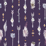 Watercolor boho seamless pattern with teepee, arrows and feather Royalty Free Stock Photography