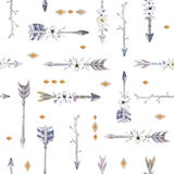 Watercolor boho seamless pattern with teepee, arrows and feather Royalty Free Stock Images