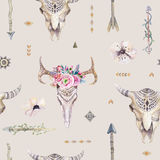 Watercolor boho seamless pattern with teepee, arrows, feathers, Stock Photography