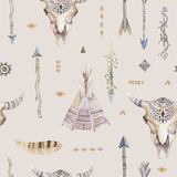 Watercolor boho seamless pattern with teepee, arrows, feathers, Royalty Free Stock Images
