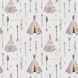 Watercolor boho seamless pattern with teepee, arrows, feathers. vector illustration