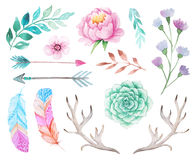 Watercolor boho set of flowers and leaves Stock Image