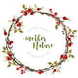 Watercolor Boho wreath made of dry twigs Stock Image