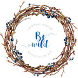 Watercolor Boho wreath made of twigs and berries. Royalty Free Stock Photography