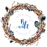Watercolor Boho wreath made of twigs and feathers. Stock Photography