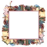 Watercolor book frame, education art library, bookshelves hand drawn illustration. Square frame with books. Back to