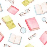 Watercolor red and green books and eyeglasses seamless pattern on white background. . Back to school