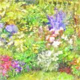 Watercolor Border In A Cottage Garden Colourful Mixed Flower Royalty Free Stock Photo