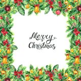 Christmas border isolated on white background. Watercolor Border. Frame from branches with pine cones, decoration, bells, balls, candy and holly berries. Xmas royalty free illustration