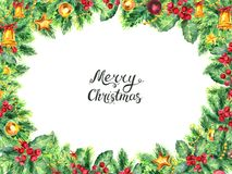 Christmas border isolated on white background. Watercolor Border. Frame from christmas tree branches with pine cones and holly berries. Xmas illustration stock illustration