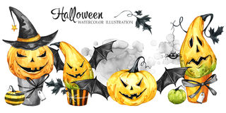 Watercolor border, set of cakes with cartoon pumpkins. Halloween holiday illustration. Funny dessert. Magic, symbol of. Horror. Baby background. Can be use in Stock Photography