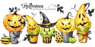 Watercolor border, set of cakes with cartoon pumpkins. Halloween holiday illustration. Funny dessert. Magic, symbol of. Horror. Baby background. Can be use in vector illustration