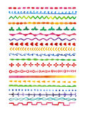Watercolor border set. Set of watercolor elements for design lace, strips on white background Stock Photo