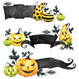 Watercolor border set, pumpkins with leaves. Halloween holiday illustration. Funny food. Magic, symbol of horror. Baby. Background. Can be use in holidays royalty free illustration