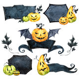 Watercolor border set, pumpkins with leaves. Halloween holiday illustration. Funny food. Magic, symbol of horror. Baby Royalty Free Stock Photo