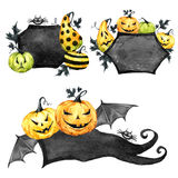 Watercolor border set, pumpkins with leaves. Halloween holiday illustration. Funny food. Magic, symbol of horror. Childish stickers. Can be use in holidays Royalty Free Stock Photos