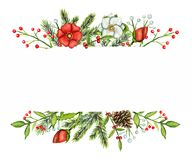 Watercolor borders with Christmas compositions stock illustration