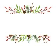 Watercolor borders with Christmas compositions royalty free illustration