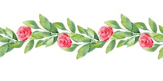 Watercolor borders Pattern with cute hearts and delicate flowers