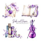 Watercolor borders set with old books, envelope, key, violin, flowers and berries. Original hand drawn illustration in. Violet shades. Summer design. ClipArt stock illustration