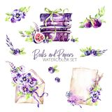 Watercolor borders set with old books, envelope, paper, flowers, figs and berries. Original hand drawn illustration in. Violet shades. Summer design. ClipArt vector illustration