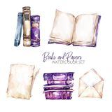Watercolor borders set with old books, envelope and paper sheets. Original hand drawn illustration in violet shades. School design. ClipArt elements. DIY vector illustration