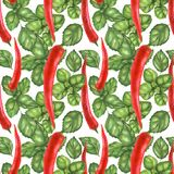 Chili and Basil seamless pattern Stock Images