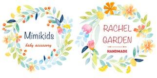 Watercolor botanical Logos Royalty Free Stock Photo