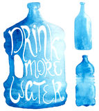 Watercolor bottle collection Royalty Free Stock Photo