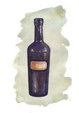 Watercolor bottle with colored spot Royalty Free Stock Images