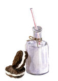 Watercolor bottle of milk and biscuits. Isolated realistic illustration. Stock Photography