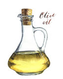 Watercolor bottle of olive oil. Realistic illustration. Stock Photos