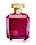 Watercolor bottle with perfume Royalty Free Stock Photos