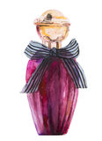 Watercolor bottle with perfume Stock Image