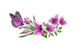 Watercolor bougainvillea bouquet with butterfly. Purple flowers, violet monarch and palm leaves. Hand painted floral