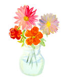 Watercolor bouquet of colorful flowers in glass vase. Stock Photo