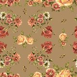Watercolor bouquet flowers on a beige background. Floral seamless pattern. Bouquet handmade  background pattern seamless watercolor color floral original Royalty Free Stock Photography