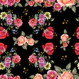 Watercolor bouquet flowers on a black background. Floral seamless pattern. Bouquet handmade  background pattern seamless watercolor color floral original Royalty Free Stock Image