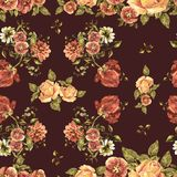 Watercolor bouquet flowers on a burgundy background. Floral seamless pattern. Bouquet handmade  background pattern seamless watercolor color floral original Royalty Free Stock Photography