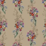 Watercolor bouquet flowers of decorative. Seamless pattern on a ochre background. Flowers ochre background handiwork design floral seamless pattern illustration royalty free illustration