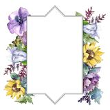 Watercolor bouquet flowers. Floral botanical flower. Frame border ornament square. Full name of the plant: sunflower,peony,flax. Aquarelle wildflower for stock illustration