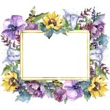 Watercolor bouquet flowers. Floral botanical flower. Frame border ornament square. Full name of the plant: sunflower,peony,flax. Aquarelle wildflower for vector illustration