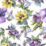 Watercolor bouquet flowers. Floral botanical flower. Seamless background pattern. Full name of the plant: sunflower,peony,flax. Aquarelle wildflower for royalty free illustration