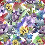 Watercolor bouquet flowers. Floral botanical flower. Seamless background pattern. Full name of the plant: sunflower,peony,flax. Aquarelle wildflower for vector illustration