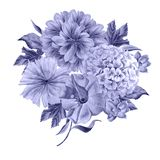 Watercolor bouquet with flowers. Peony. Hydrangea. Royalty Free Stock Photos