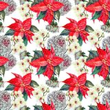 Watercolor bouquet flowers poinsettia, orchid with white peony. Seamless pattern on a white background. Flowers red poinsettia peony orchid white background Royalty Free Stock Photos